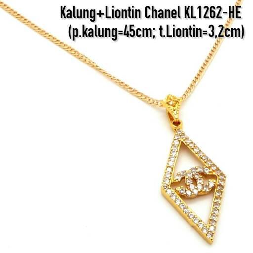 harga KL1262-HE Kalung+Liontin Chanel Perhiasan Lapis Emas Gold Tokopedia.com