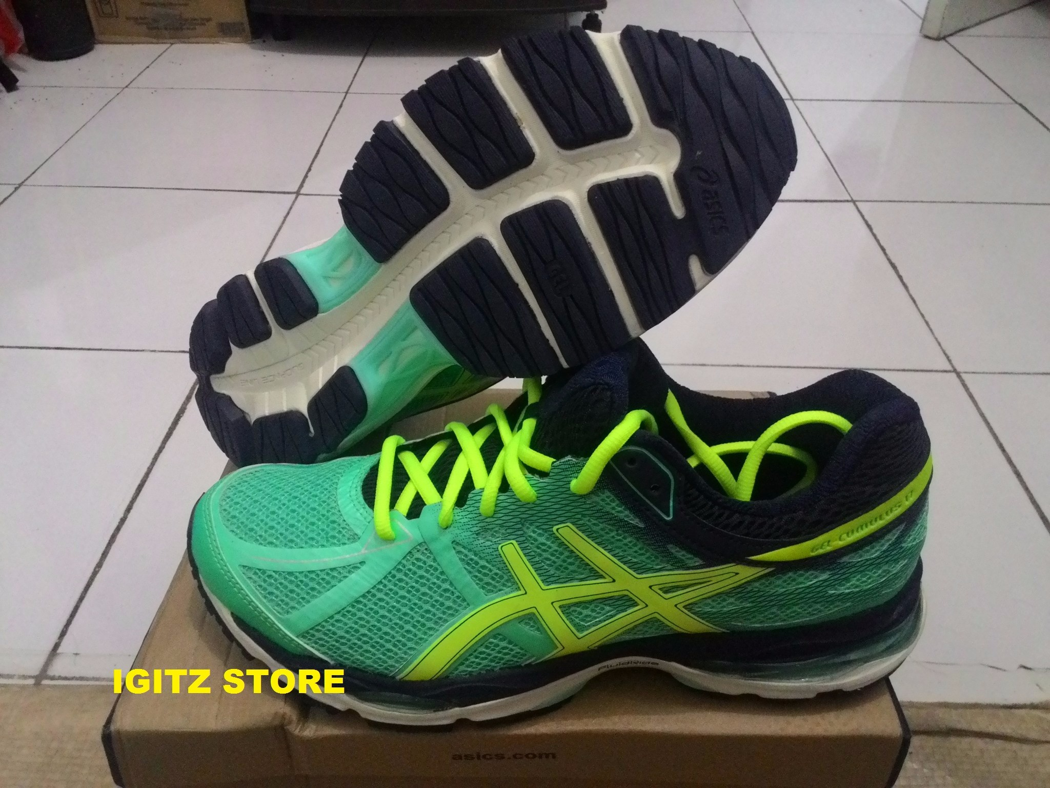 Jual Sepatu Running Asics Gel Cumulus 17 Green Yellow Blue ... ee359f607b
