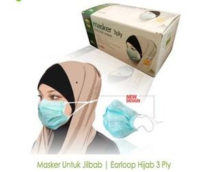 Masker Jilbab Earloop Hijab 3 Ply One Med Tali Karet Telinga & Kepala