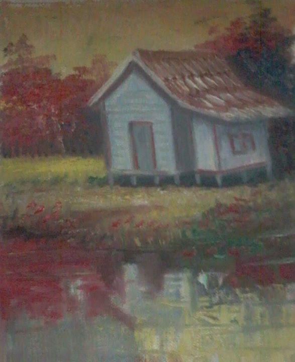 Lukisan Pemandangan Rumah Desa