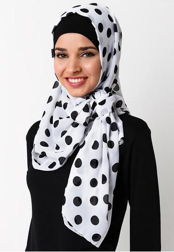 Jual Jilbab Polkadot Hitam Putih Naufal Hijab Collection