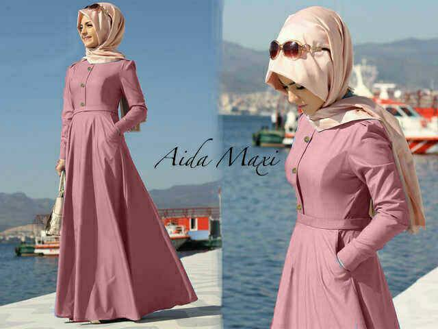 Hijab Aida dusty Denim ( maxi + pashmina )
