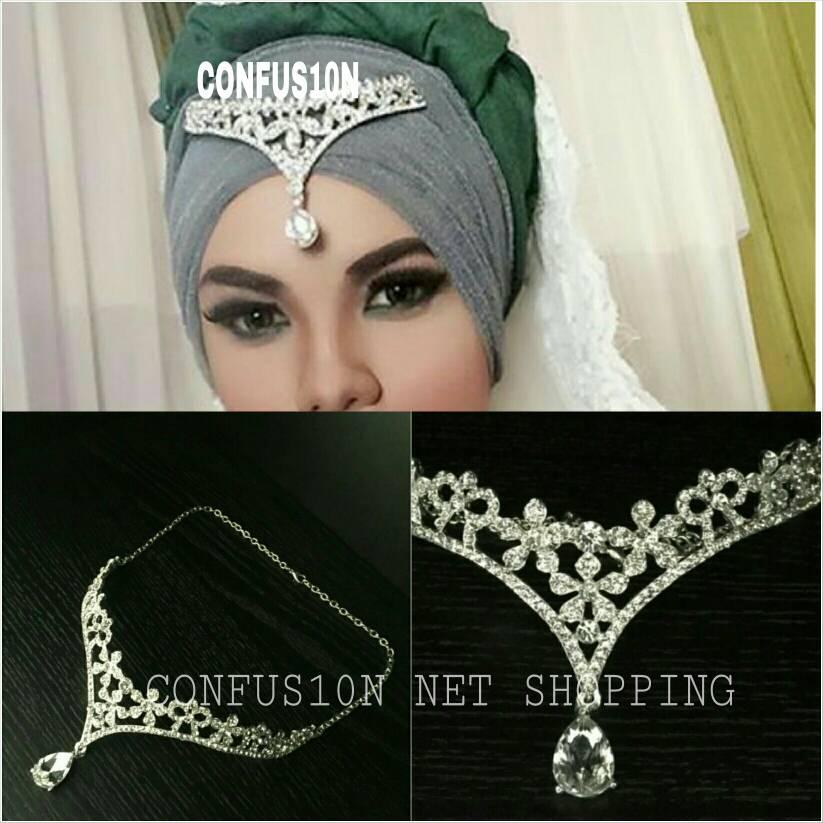 Mahkota pengantin hiasan kepala aksesoris hijab