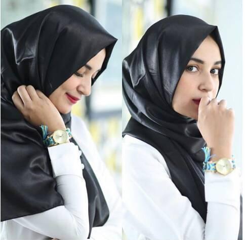 hijab kerudung satin velvet hitam pashmina & segiempat