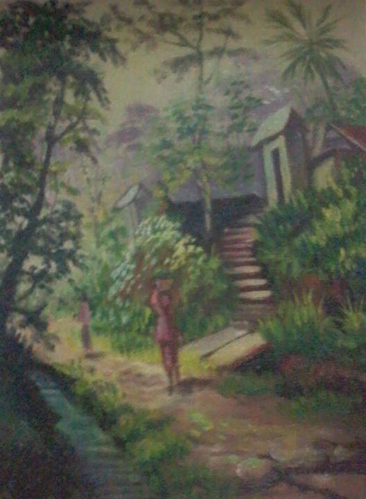 Lukisan Pemandangan Alam Desa