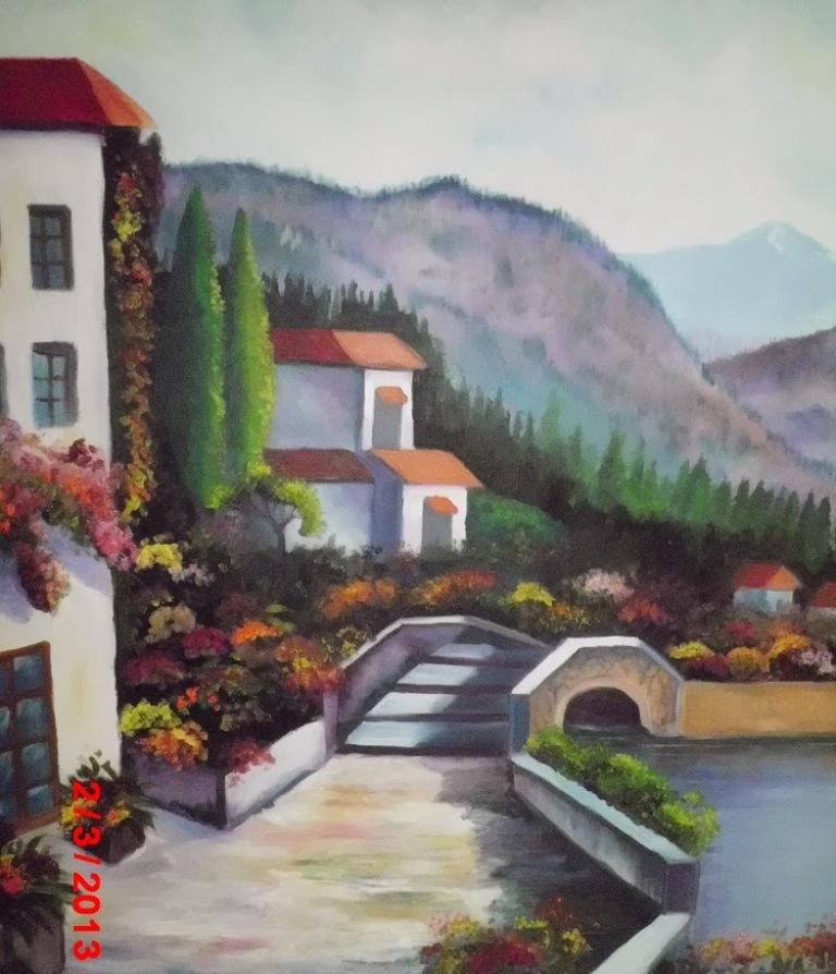 Lukisan Pemandangan Rumah Desa Klasik