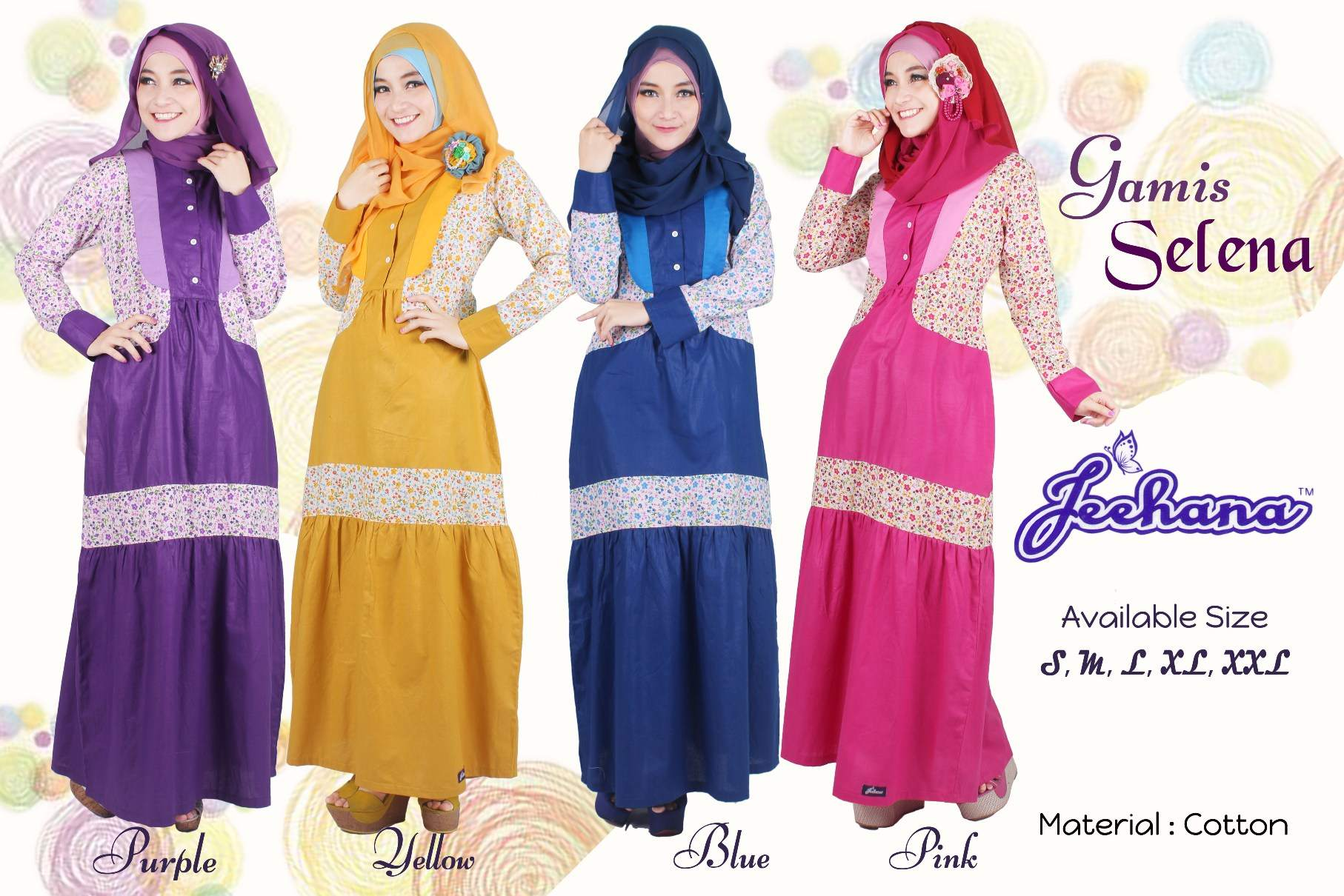 jual harga gamis remaja selena dress hijab baju