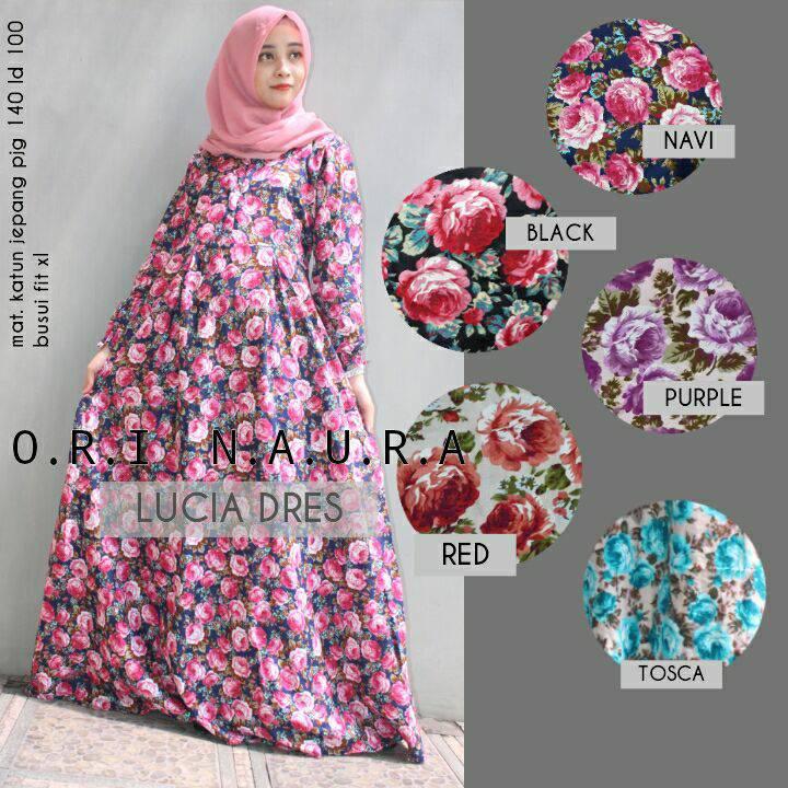 supplier hijab : lucia dress naura gamis katun jepang