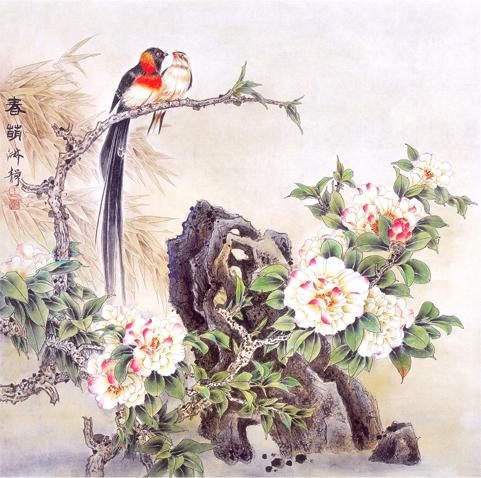 Lukisan Sepasang Burung Nuri
