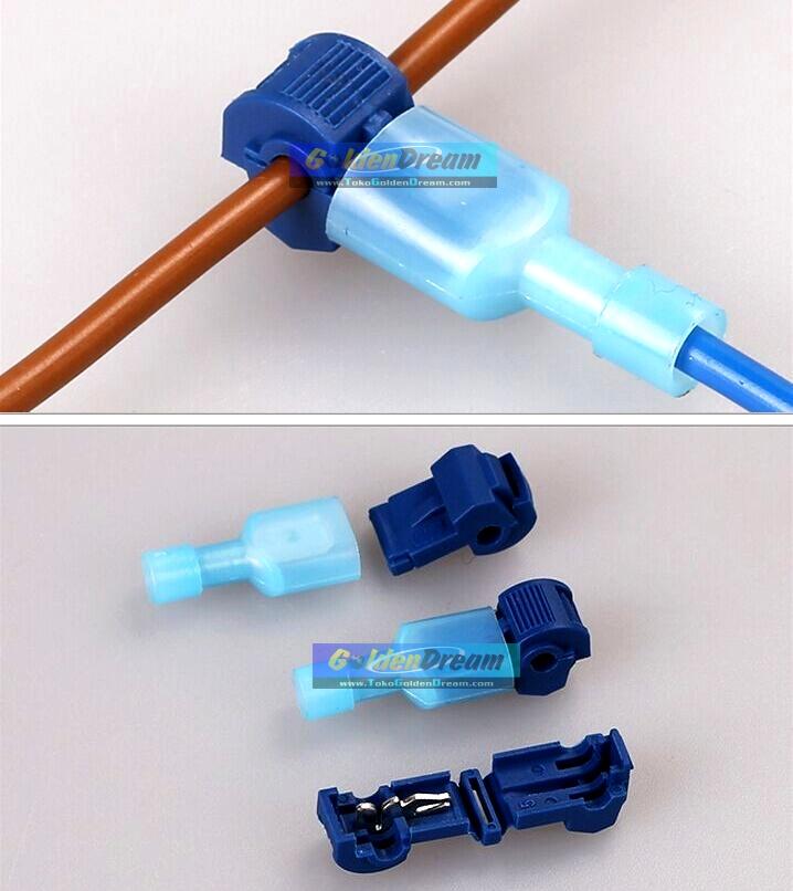 jual kabel jumper t biru 1 wire connector suntik cabang split cable golden dream. Black Bedroom Furniture Sets. Home Design Ideas