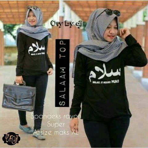 baju hijab wanita salam peace black ( grosir baju murah wanita )