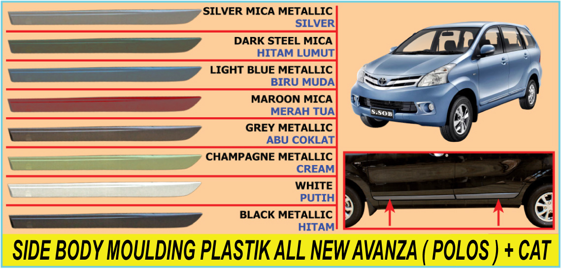 SIDE BODY MOULDING / LIST BODY PLASTIK ALL NEW AVANZA ( POLOS ) + CAT
