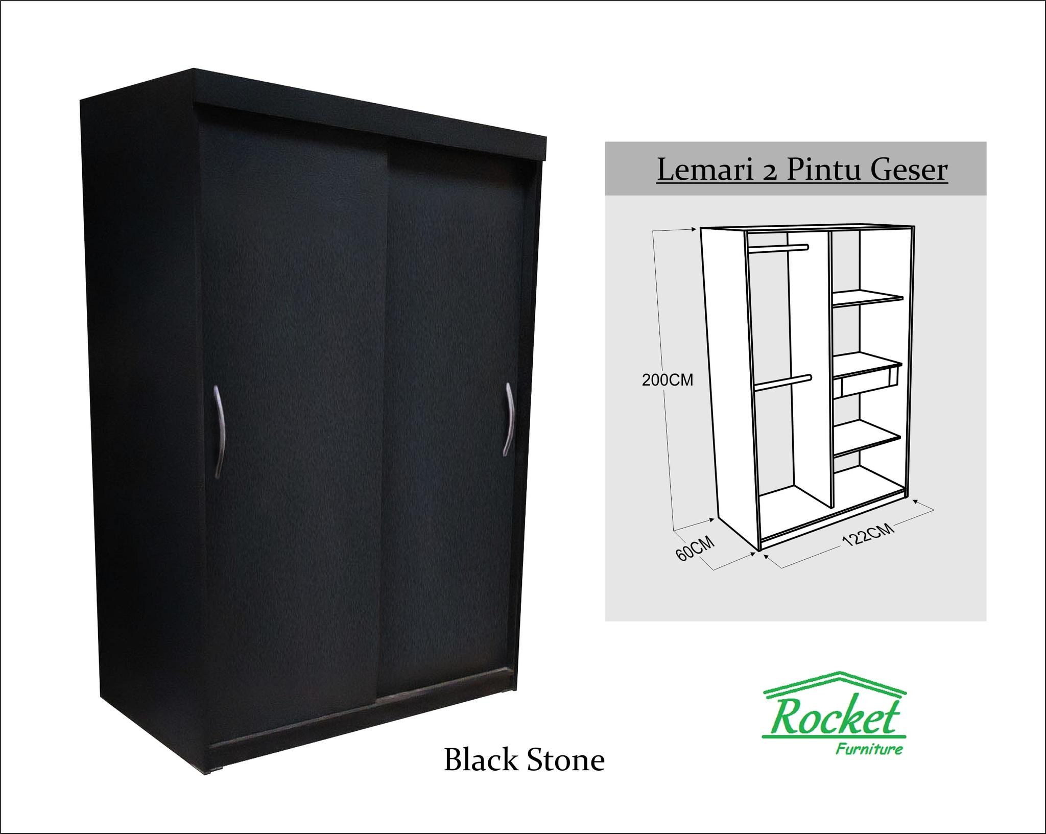 jual lemari pakaian sliding door 2 pintu hpl hitam rocket furniture tokopedia