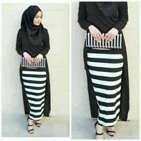 Hijab Monika Jersey Stripe Set 3in1 Black