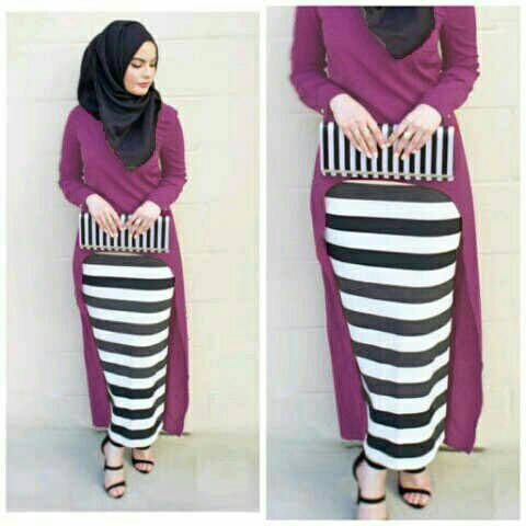 Hijab Monika Jersey Stripe Set 3in1 Magenta