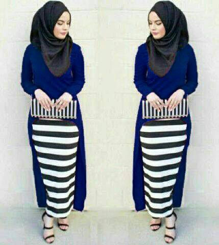 Hijab Monika Jersey Stripe Set 3in1 Navy