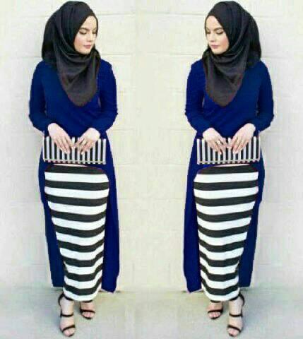 Hijab Monika Jersey Stripe Set 3in1 Navy