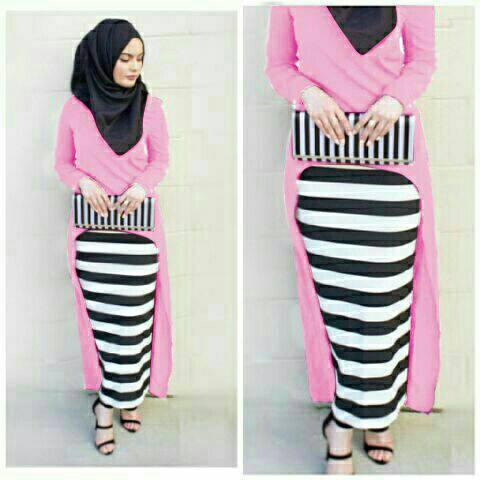 Hijab Monika Jersey Stripe Set 3in1 Pink