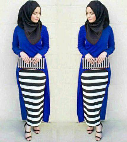 Hijab Monika Jersey Stripe Set 3in1 Benhur