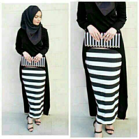 Hijab Monika Stripe Set 3in1 Black