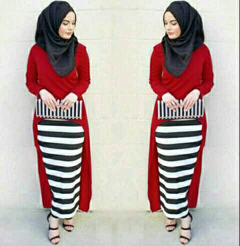 Hijab Monika Jersey Stripe Set 3in1 Red