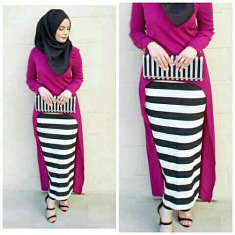Hijab Monika Jersey Stripe Set 3in1 Fanta