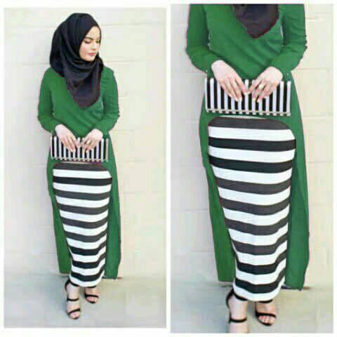 Hijab Monika Jersey Stripe Set 3in1 Green