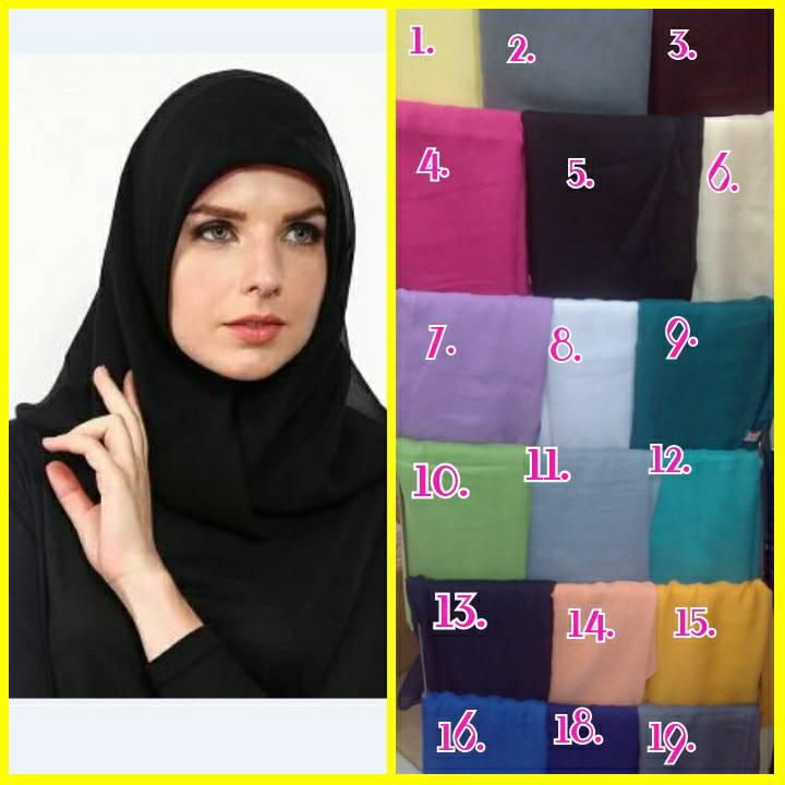 Jilbab / Hijab / Kerudung / Segi4 / Segiempat Paris Polos