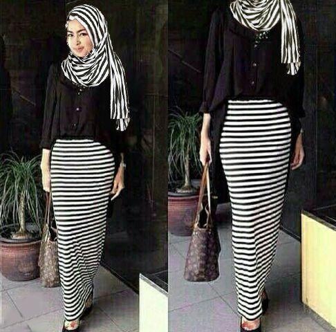 Hijab renata Black  3in1 ( Maxi + Rok + pashmina )
