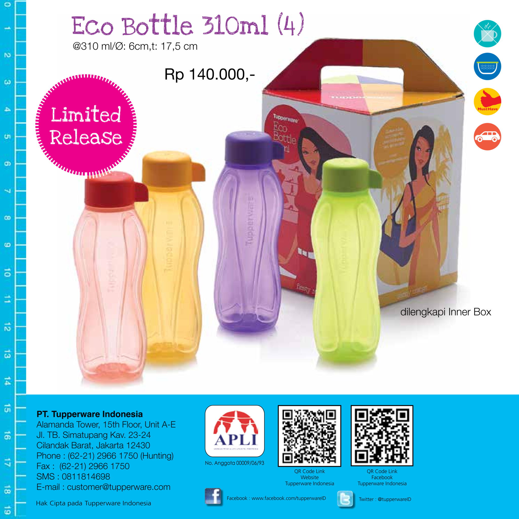 Harga Jual Tupperware Eco 1l Botol Bottles Water Drinking The Lady Bottle 310 Ml 4