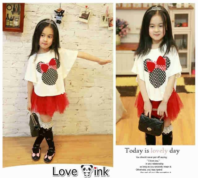 jual setelan baju fashion anak perempuan batwing tutu minnie red kid toko online lucu tokopedia