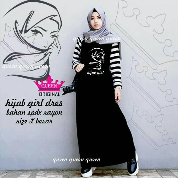 Baju Terusan Wanita Dress Hijab Girl Black White Monochrome
