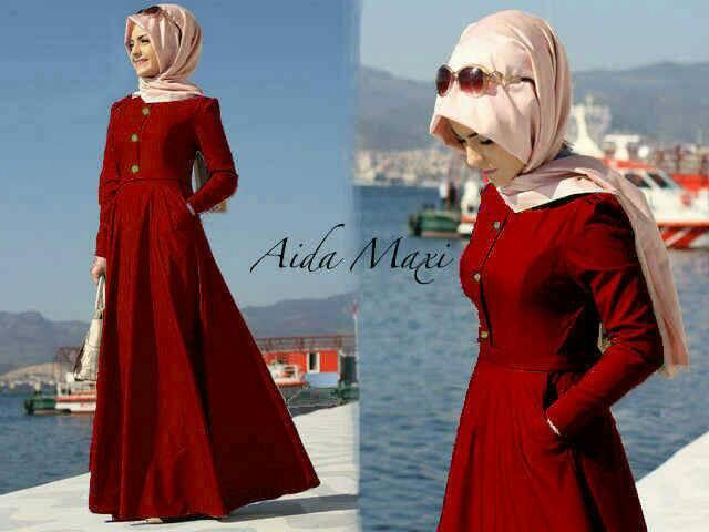 Hijab aida maroon denim ( maxy + pashmina )