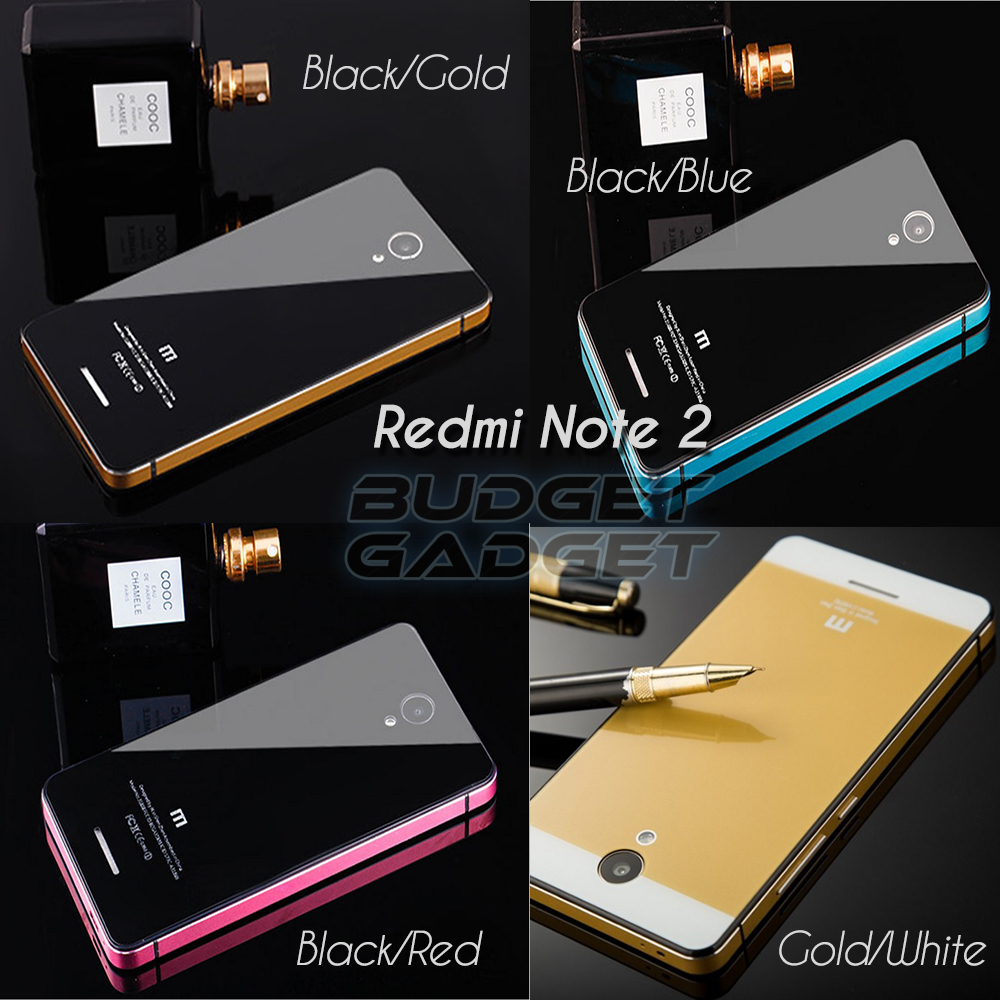 Jual Aluminium Tempered Glass Case for Xiaomi Redmi Note 2 (iPhone Style) - BudgetGadget