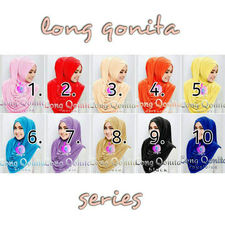 jual jilbab jersey long qonita by apple hijab