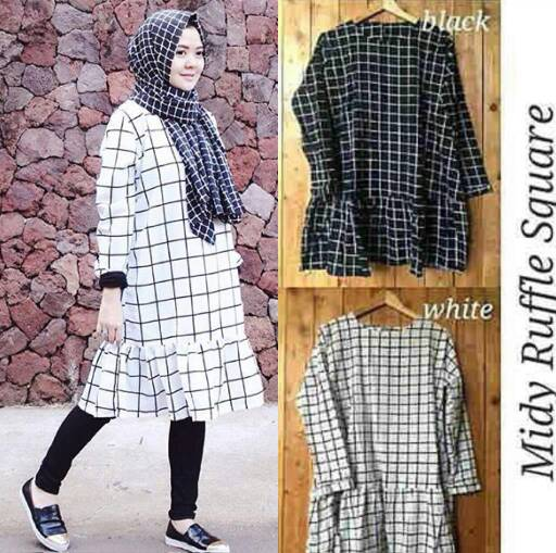 midy ruffle square | mini dress hijab tunik