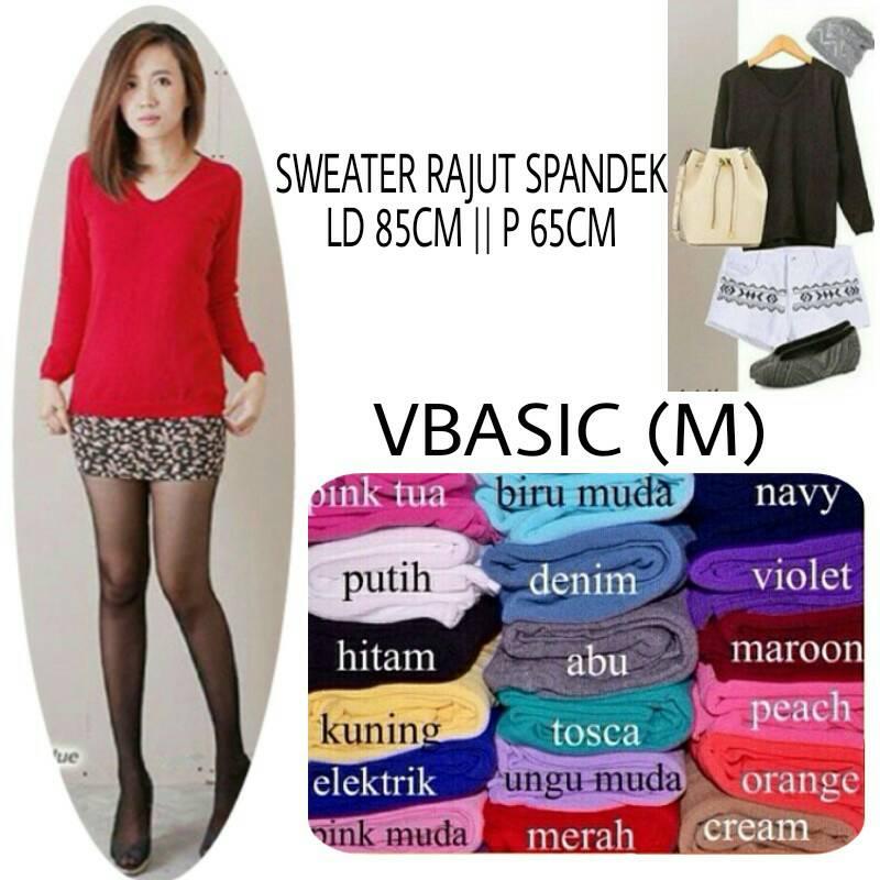 Jual VBasic Sweater Rajut M L V-Neck Baju Atasan Wanita Blouse Spandek Top - MAGUSTO