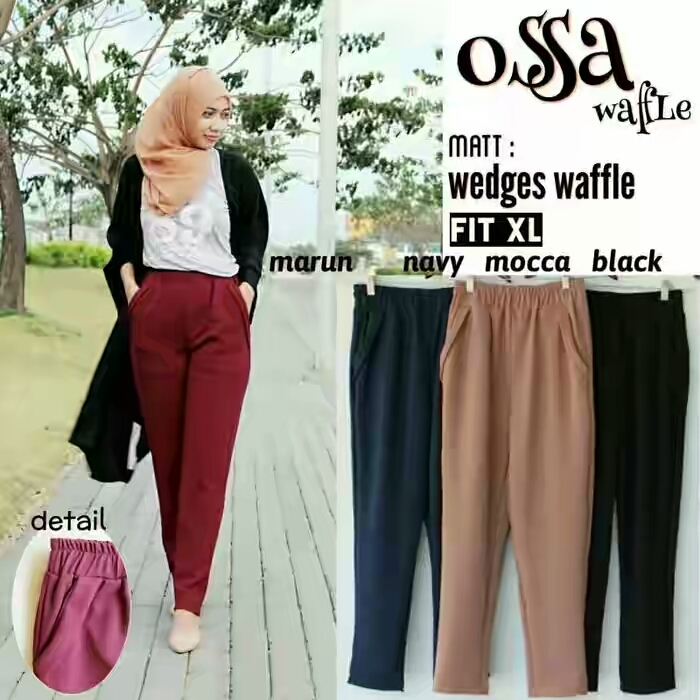 CELANA WEDGES OSSA WAFFLE PANTS , HIJAB FASHION
