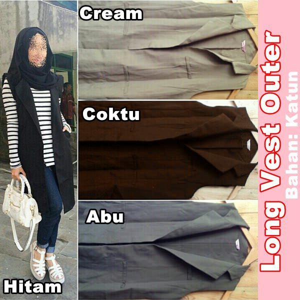 LONG VEST OUTER ROMPI CARDI SUPPLIER FASHION HIJAB CARDIGAN TERMURAH