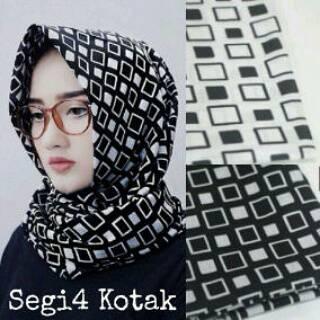 jojo square / jilbab segi4 katun mhonocrom / monokrom hijab