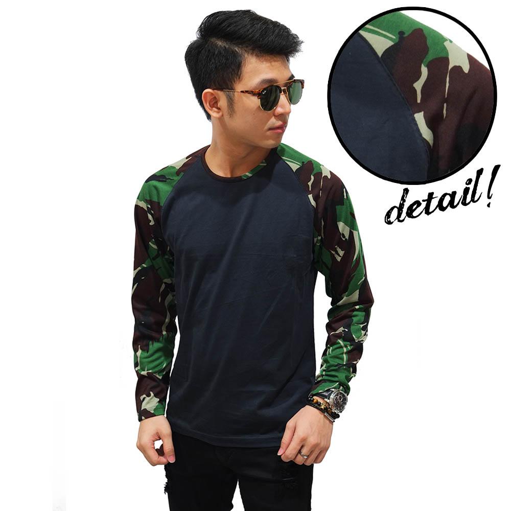 Jual Kaos Raglan Pria / Cowok Branded Sleeve Camouflage Army Dark Green - Toko Baju Keren