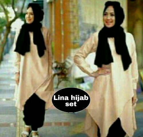 hijab Lina Set coklat 3in1