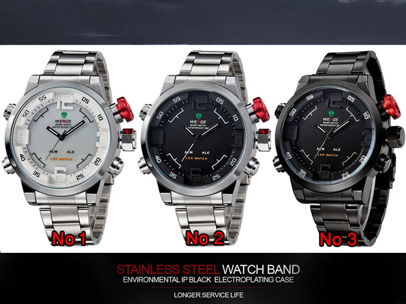 Jam Tangan Pria Weide BLACK Dual Time Zone Original Waterproof