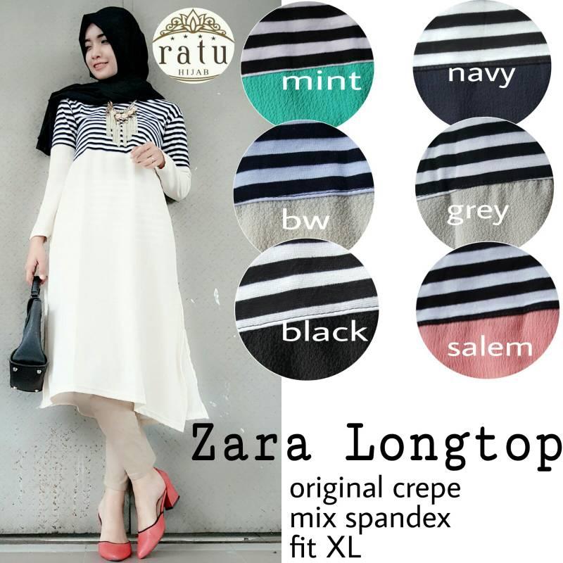 zara long top ori ratu / supplier tunic hijab
