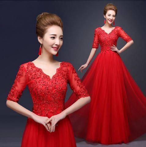 Long dress warna merah
