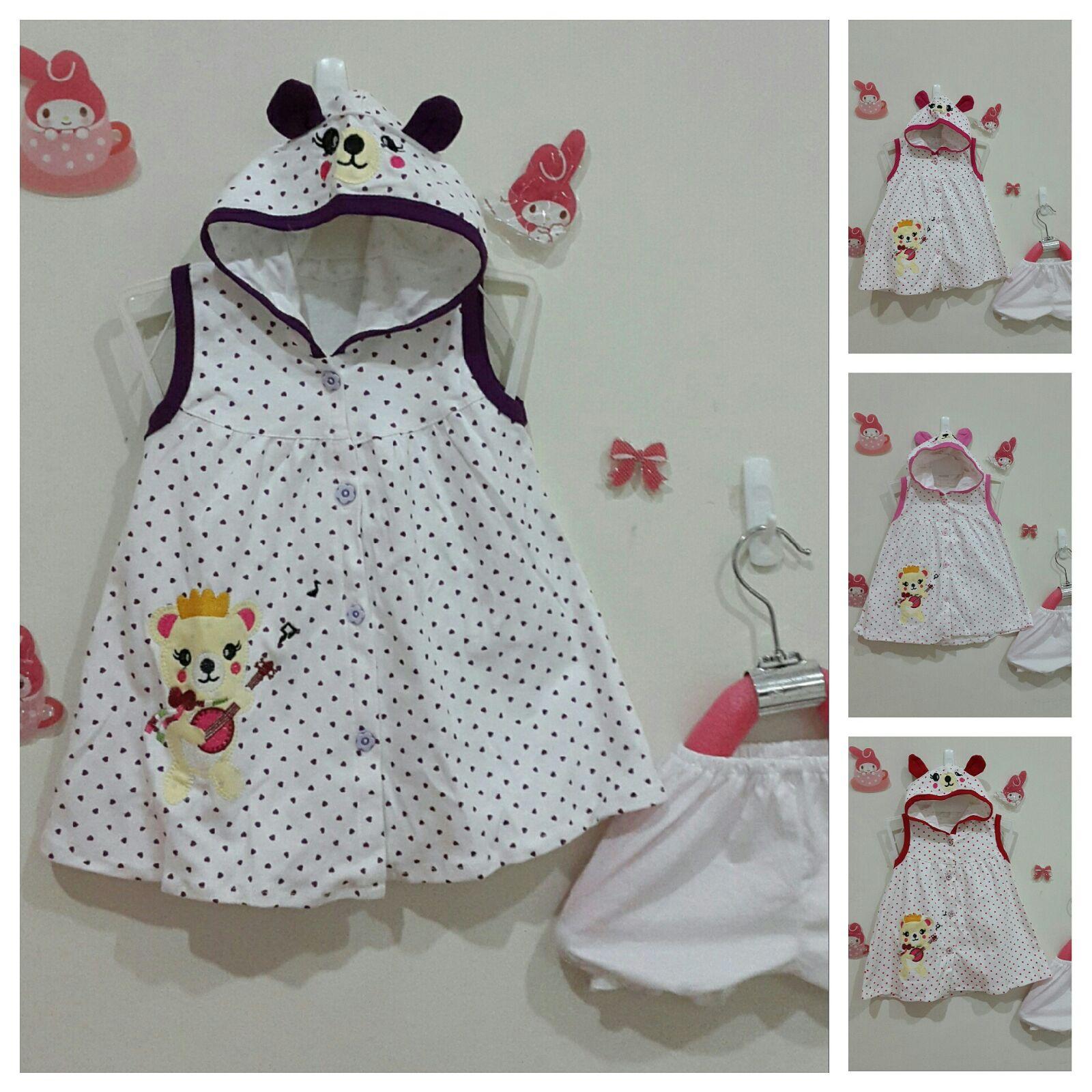 Dress anak motif Little Bear - umur 1 s/d 2 thn