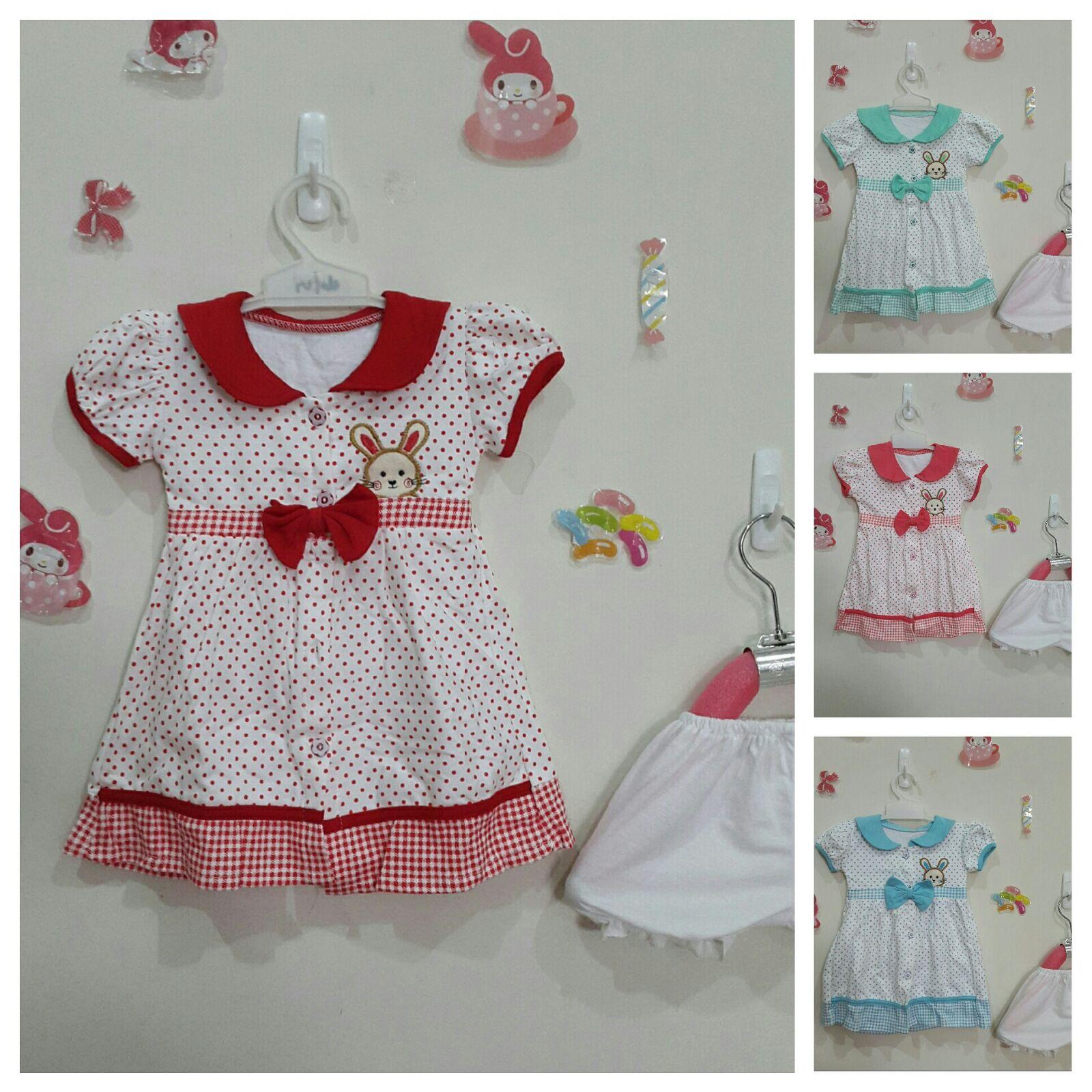 Dress anak motif Rabbit - umur 1 s/d 2 thn