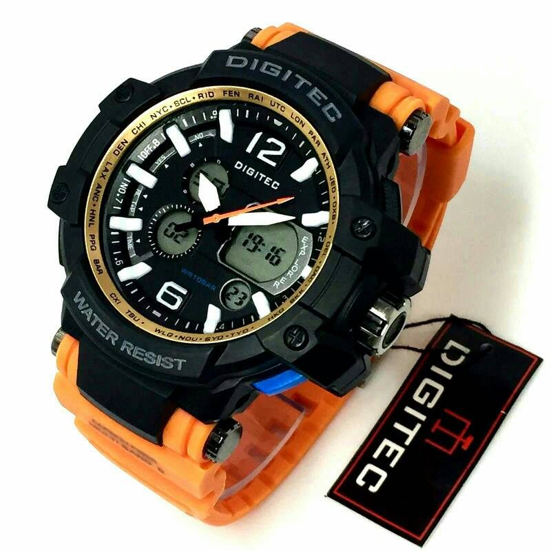 DIGITEC DG2098 JAM TANGAN WANITA OLAHRAGA DUAL TIME KUNING. Jual jam tangan digitec sport double