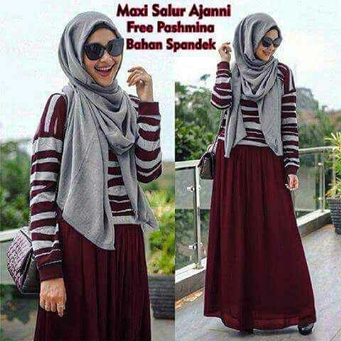 Hijab salur ajanni Red ( maxi + pashmina )