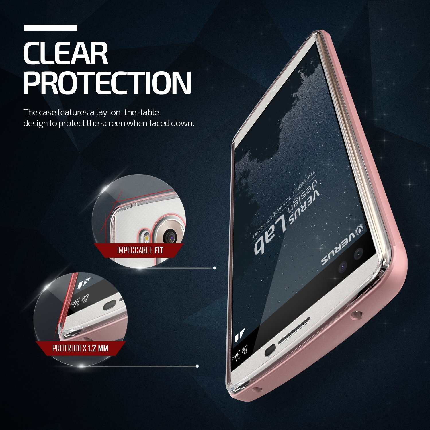 Verus Crystal Bumper for LG V10 Rose - Gold